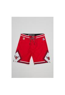 Boardshort Mitchell & Ness Sublimado Collab Hd E Mineirinho Chicago Bulls Vermelha