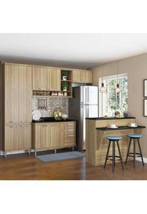 Cozinha Compacta Sicília 11 Portas 3 Gavetas Com Tampo E Bancada 5846 Argila - Multimóveis