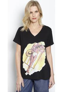 Camiseta Com Pedraria- Preta & Amarela- Ênfase Plusênfase Plus