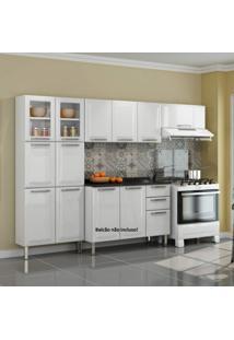 Cozinha Compacta 3 Peças Sem Balcão 2 Portas De Vidro Tarsila Itatiaia Branco
