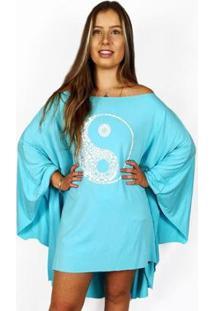 Bata Kaftan Wss Brasil Yin Yang Feminina Viscolycra - Feminino-Azul