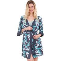 dc4c8eb04 Robe Curto Com Estampa De Folhagem Inspirate - Feminino-Verde Claro