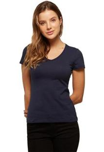 Camiseta Basicamente Babylook Gola V Feminina - Feminino-Azul Escuro