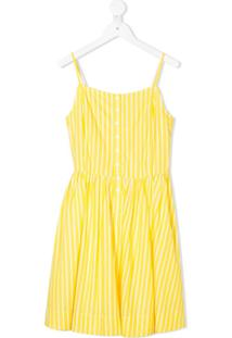 Ralph Lauren Kids Vestido Listrado Com Abotoamento - Amarelo