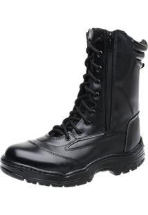 Bota Accona Militar Com 2 Zíperes Ctz304 Preto