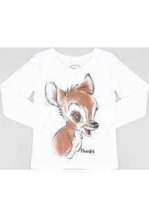 Blusa Infantil Bambi Com Glitter Manga Longa Decote Redondo Off White