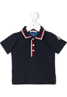 Moncler Kids Camisa Polo Com Contraste - Azul
