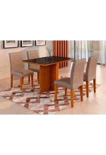Conjunto De Mesa De Jantar Com 4 Cadeiras Ane Ii Suede Amassado Imbuia E Chocolate