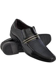 Sapato Social Euro Flex Com Texturas Solado Borracha Leve Masculino - Masculino-Preto+Dourado