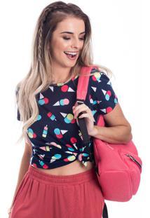 Camiseta Feminina Manga Curta Estampada