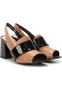Ankle Boot Couro Loucos & Santos Bicolor Salto Bloco - Feminino-Nude+Preto