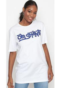 Camiseta Com Bordado- Branca & Azul- Tritontriton