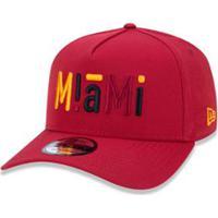 Boné 940 Miami Heat Nba Aba Curva Snapback New Era - Masculino-Vermelho  Escuro 1ed7ad8386e