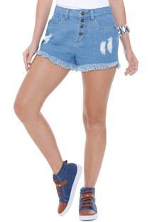 Short Feminino Hot Pants Jeans Puídos Marisa