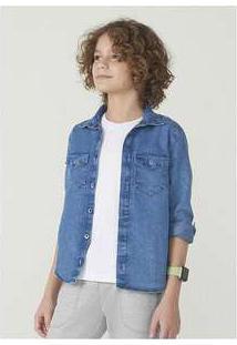 Camisa Menino Em Jeans Manga Longa Azul