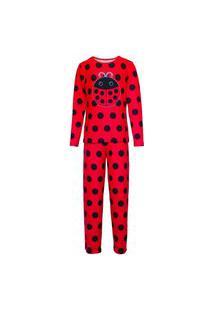 Pijama Masculino Manga Longa E Calça Isabb Joaninha Vermelha