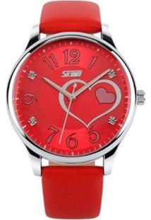 Relógio Feminino Skmei Analógico Feminino - Feminino-Vermelho