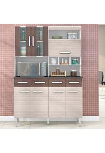Cozinha Compacta 7 Portas E 4 Gavetas Melissa - Poquema - Amendoa / Capuccino