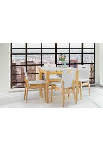 Sala De Jantar Com Mesa E 4 Cadeiras Tucupi 80Cm - Acabamento Stain Natural E Laca Branco