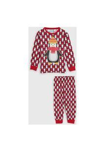 Pijama Kyly Longo Infantil Pinguim Vermelho/Preto