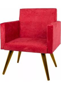 Poltrona Decorativa Pés Palito Nina Suede Vermelho Liso - Ds Móveis - Kanui