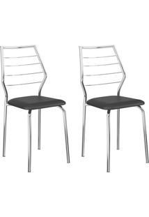 Conjunto 2 Cadeiras 1716 Casual Napa Preto Cromado