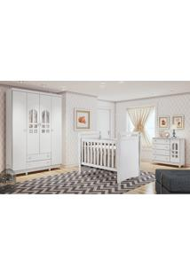 Dormitório Selena 04 Branco Brilho Carolina Baby