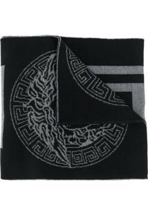 Versace Cachecol 'Greek Key' De Tricô - Preto