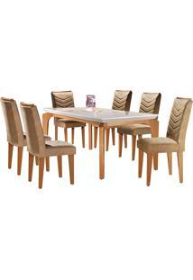 Conjunto De Mesa Para Sala De Jantar Com 6 Cadeiras Mel-Rufato - Animalle Chocolate / Off White / Imbuia
