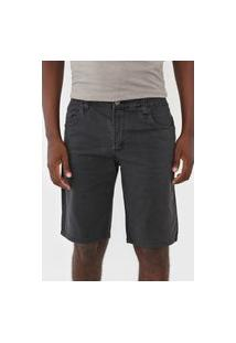 Bermuda Sarja Polo Wear Slim Lisa Preta