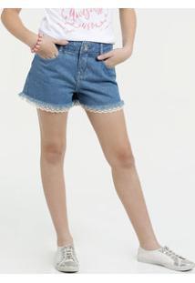 Short Juvenil Jeans Barra Desfiada Marisa
