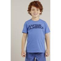 Camiseta Infantil Capitão América Manga Curta Gola Careca Azul 68b292531dddf