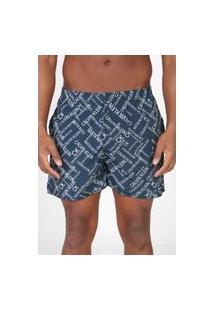 Bermuda Água Calvin Klein Jeans Reta Logo Azul-Marinho