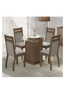 Conjunto Sala De Jantar Madesa Nice Mesa Tampo De Vidro Com 4 Cadeiras Rustic/Crema/Pérola