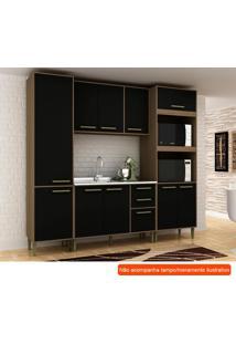 Cozinha Compacta Vitória 10 Pt 3 Gv Preta E Avelã