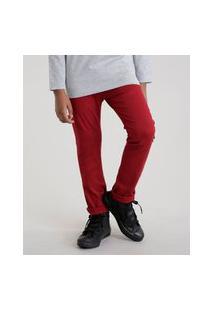 Calça De Sarja Infantil Slim Com Bolsos Vermelha