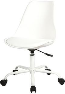 Cadeira Saarinen Com Rodizios Pp Branca Base Aco - 38196 - Sun House