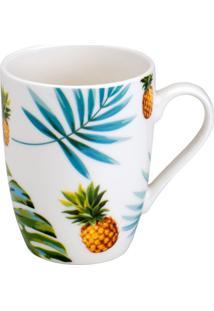 Caneca Pineapple'N Leaves- Verde Escuro & Azul- 330Mbon Gourmet