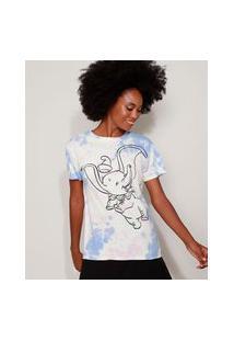 Camiseta Feminina Dumbo Estampada Tie Dye Manga Curta Decote Redondo Multicor