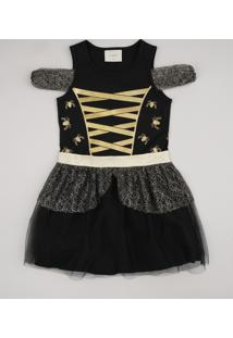 Vestido Infantil Halloween Open Shoulder Com Tule Manga Curta Preto
