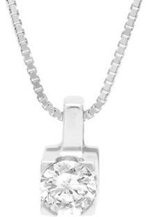 Pingente Solitário Ouro Branco E 10 Pontos De Diamantes