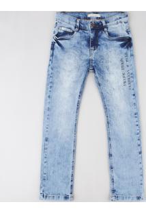 "Calça Jeans Infantil Slim ""Think Brave"" Azul Claro"