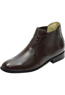 Botina Social Conforto Atron Shoes 710 Couro Café