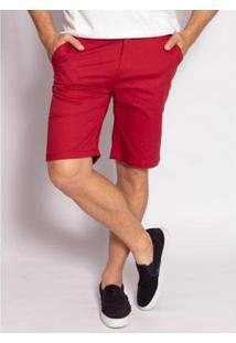 Bermuda Aleatory Sarja Clever Masculina - Masculino-Vermelho