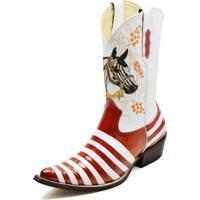 42e732efb8 Bota Country Top Franca Shoes Bico Fino Verniz Masculina -  Masculino-Vermelho