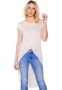 Maxi Camiseta Colcci Básica Feminina - Feminino-Off White