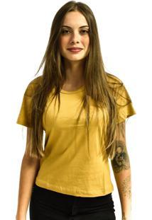 Camiseta Nakia Baby Look Gola Careca Básica Feminina Lisa Manga Curta Mostarda