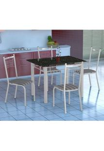 Conjunto De Mesa Gênova Com 4 Cadeiras Lisboa Branco Liso E Preto Listrado