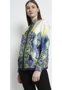 Camisa Em Seda Arabescos - Verde Claro   Roxaversace Collection b96a52e3e9da3