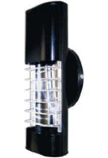 Luminária Mini Elite 27Cm Com Aletas E-27 1 Lâmpada Eletrônica Preta